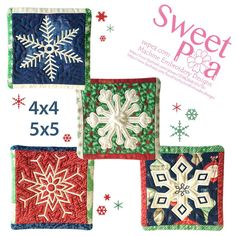 Snowflake coasters 4x4 5x5 in the hoop machine embroidery design - Sweet Pea