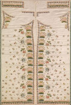 Waistcoat patterns (c. Artist/s name (FRANCE) Medium silk Place/s of Execution (France) Accession Number Credit Line National Gallery of Victoria, Melbourne Rococo, Baroque, Historical Costume, Historical Clothing, Men's Clothing, Fabric Patterns, Embroidery Patterns, Victorian Mens Clothing, Men's Waistcoat