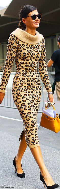 Azzedine Alaia Leopard dress Fendi bag - Paris Fashion Week | Animal Print - Leopard Print
