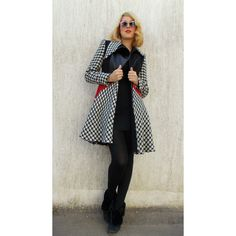 On 25 Off Asymmetrical Flared Wool Coat Block Color Winter Coat Funky... (€110) ❤ liked on Polyvore featuring tops, plaid shirts, plaid top, red and black plaid shirt, red and black shirt and button shirt