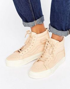 Vans Sk8-Hi Reissue Trainers In Neutral Leather f7fc69e36