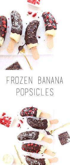 Frozen banana popsicles - delicious and healthy treat or snack that's super easy to prepare (gf and vegan option) Desserts Sains, Köstliche Desserts, Frozen Desserts, Healthy Desserts, Dessert Recipes, Frozen Banana Recipes, Healthy Meals For Kids, Healthy Treats, Gourmet