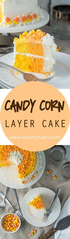 This Candy Corn Layer Cake is such a fun treat to make for Halloween! I love the unique layers!