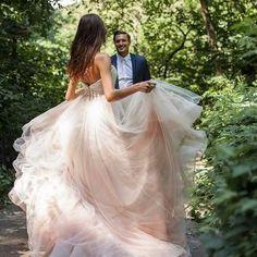 Textured blush wedding dress