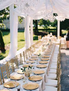 Elegant blue + gold wedding table decor: http://www.stylemepretty.com/missouri-weddings/springfield-mo/2015/11/06/elegant-sentimental-estate-garden-wedding-in-missouri/ | Photography: Cassidy Brooke - http://cassidybrooke.com/