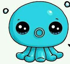New Ideas drawing cute octopus Cute Kawaii Drawings, Cute Animal Drawings, Kawaii Art, Cartoon Drawings, Kawaii Anime, Easy Disney Drawings, Easy Drawings, Cute Octopus, Cute Kawaii Animals