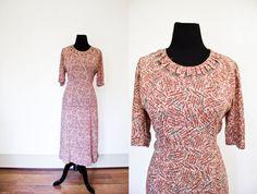 Vintage 1940s Dress  Rayon Novelty Atomic by dejavintageboutique