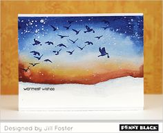 #Penny_Black Winter Scene with SAKURA KOI WATERCOLORS   Masks off bottom portion of card w painters tape to make snowy rolling ground   Video (10,28.15)