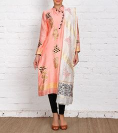 Peach & Ivory Unstitched Chanderi Block Printed Kurta Set