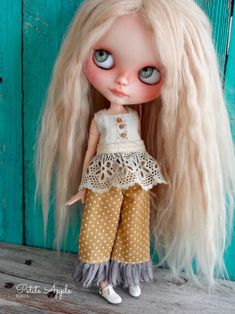 Blythe doll pantaloons set with antique top shirt by marina, $65.00 USD