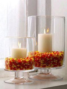Candy Corn Hurricane Candle DIY from Women's Day