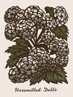 Hemlock ~ Martin Mazorra's Language of Flowers, Poison Flower Series ~ Color Woodcut and Letterpress print, 18 x 24 inch, French's 100 lb. Cover, Insulation Pink. Handcut, Handprinted with moveable type. Edition of 20.