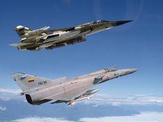 Ecuadorean Air Force IAI Kfir (front) and Mirage F1.