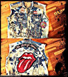 Vtg Festival Rolling Stones Skull punk rock grunge STUDDED JEANS Denim vest top
