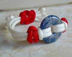 Nautical paracord bracelet with a blue hoop bead focal piece, unique paracord jewelry bracelet, patriotic jewelry, gift for her