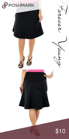 US made Stretch Flare Skirt, d-4043, Black Brand new Forever Young quilted knee long pull on skirt that looks sexy with any tucked in top. 95% poly, 5% spandex. Made in US. Forever Young  Skirts