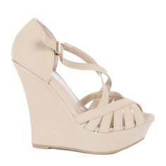 Yab Strappy Upper Low Top Wedge Sandals-Taupe