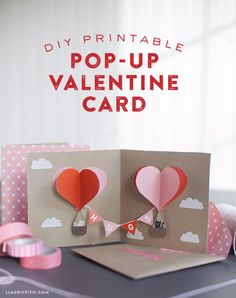 DIY Valentines Day Cards - DIY Valentine Pop Up Card - Easy Handmade Cards for Him and Her, Kids, Freinds and Teens - Funny, Romantic, Printable Ideas for Making A Unique Homemade Valentine Card - Step by Step Tutorials and Instructions for Making Cute Valentine's Day Gifts http://diyjoy.com/diy-valentines-day-cards