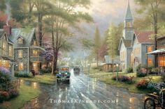 """In """"Hometown Evening"""" Thomas Kinkade paid homage to two of his favorite neighborhoods - his hometown of Placerville and his family's home in the suburbs of San Jose. The right hand side of the street features houses and a chapel from his childhood, while his and Nanette's home is depicted on the left side of the painting. Thom loved antique cars, and in this image, he included a 1932 Ford Coupe."""