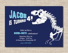 Dino dig birthday invitations, printable dinosaur birthday invitations for boys on Etsy, $15.00