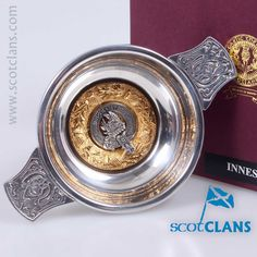 3oz Pewter Quaich with Innes clan crest - from ScotClans