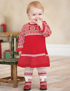 "Hanna Andersson ""speaking of sweden"" sweater dress with matching tights & red mary janes. Perfect for winter! Winter Sweater Dresses, Winter Outfits, Girls Socks, Hanna Andersson, Toddler Outfits, My Girl, Cute Babies, Christmas Sweaters, Style Me"