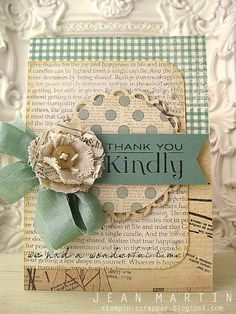 Lovely vintage hues at work in this pretty thank you card. #card_making #scrapbooking #crafts