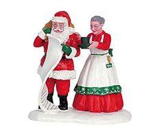 Lemax Decoration 'Santa & Mrs Santa', New Christmas Cake Craft Decorating Figure #Lemax