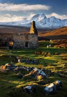 Ruin and Blaven , Strath Suardal,Isle of Skye. Scotland.