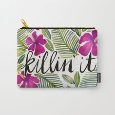 Killin' It – Tropical Pink carry all pouch by Cat Coquillette