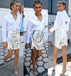 Zendaya Coleman in Manning Cartell button-down shirt and silver skirt