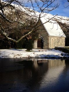 One of my favorite places in Ireland. There was snow today at Gougane Barra, County Cork.