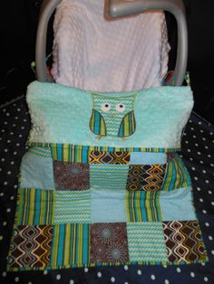 Owl Car Seat Quilt  Blue by TWINSANDQUINN on Etsy, $55.00