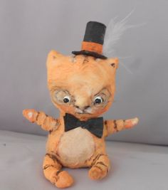 orange kitty Ooak spun cotton doll by papermoongallery on Etsy, $39.00