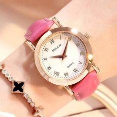 MULLAI Značka Fashion Star Dial Dámské hodinky Luxusní Golden Kožené dámské  hodinky Ženy Šaty Kalendář hodinky relogio feminino 29503e3bc84