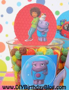 DreamWorks+Home+movie+party+supplies   Home Birthday Party Idea- Tip, Boov Oh, Pig The Cat- DIY Cupcake ...