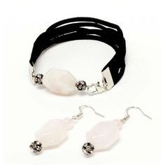 Harper Gemstone Bracelet and Earrings - Get a chic black and light pink look that has modern beadelle embellishments. This earring and bracelet set can be easily dressed up or down. [$0]