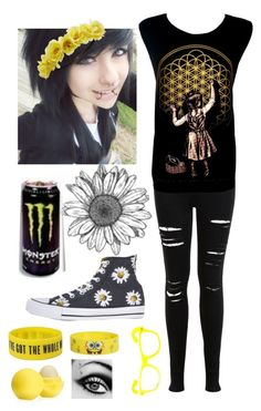 """""""Yellow"""" by musiclovermads ❤ liked on Polyvore featuring Miss Selfridge, Charlotte Russe, Converse and Eos"""