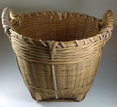 Vintage basket made of wicker and bamboo. Very strong and useful From the People's Republic of China  10 inches tall Home decor Bath decor by GenesisVintageShop on Etsy