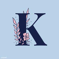 Blue Flower Wallpaper, K Wallpaper, Cute Patterns Wallpaper, Cute Wallpaper Backgrounds, Flower Backgrounds, Letter K Design, Alphabet Design, Alphabet Art, Alphabet Capital Letters