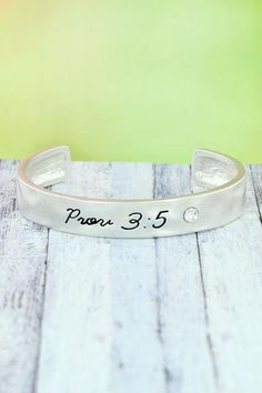 """Share your favorite verse with this simple, yet stylish cuff. Worn Silvertone Crystal Accent """"Prov Inscribed on Bracelet Inside Circumference Including Gap Wide No Closure Lead Compliant Religious Jewelry, New Fashion, Cuff Bracelets, Fashion Jewelry, Crystals, Stylish, Silver, Simple, Products"""
