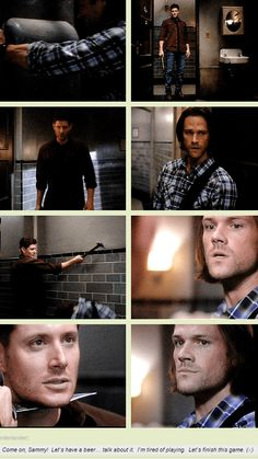 10x03. (Wow, it felt weird typing that.) Sam's face breaks my heart. There's a certain kind of sadness there. Like he can't believe that it's his brother. :( Dean's hair makes me feel a little better, though. It looks pretty awesome. Shawn Spencer would approve. (Entirely different fandom, sorry. I couldn't resist.)