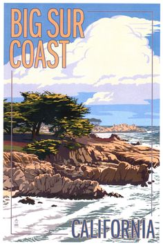 Big Sur Coast, California - View of Cypress Trees - Lantern Press Artwork Giclee Gallery Print, Wall Decor Travel Poster), Multi Tree Lanterns, National Park Posters, Rocky Shore, Retro Poster, Cypress Trees, California Travel, Cayucos California, Monterey Bay California, California Decor
