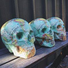 World map skulls? I want 'em. Bone Crafts, Small Skull, Halloween Party Themes, Sugar Skull Art, Skull Decor, Human Skull, Halloween Skeletons, Skull And Bones, Dream Decor