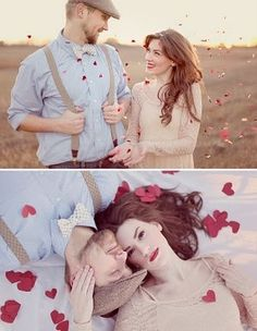 Adorable vintage couple with red confetti!