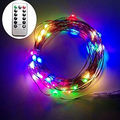 Dreamworth 10M 100 LEDS Battery Operated Remote Contol LED String Lights Flexible Copper Wire Light LED Starry Lights Fairy Lights For Christmas Holiday Party WeddingMulticolor * Read more reviews of the product by visiting the link on the image.