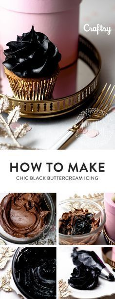 Black buttercream frosting can be a difficult undertaking for even the most experienced cake decorator. This tutorial gives you the recipe and steps for making the drool worthy black buttercream. (cookie tips buttercream frosting) Cupcake Recipes, Cupcake Cakes, Dessert Recipes, Icing Recipes, Fondant Cakes, Eid Cupcakes, Decorate Cupcakes, Mini Cakes, Buttercream Icing