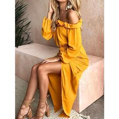 Yellow Long Sleeve Off-the-shoulder Split-side Maxi Dress (99 BRL) ❤ liked on Polyvore featuring dresses, beach maxi dress, long sleeve dress, long sleeve off the shoulder dress, off-shoulder dresses and print maxi dress
