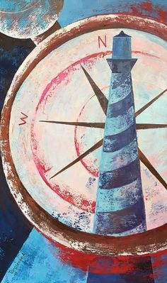 """Painting """"True to the pole """" by Anastasia  Tarasenko - $750; canvas & oil; 100x60 cm; Jose Art Gallery  Interior painting, compass, lighthouse, expessionism, red, blue, brown, illustration, inspiration, poster, oil on canvas, architecture, beautiful"""