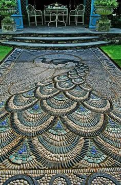 Peacock pebble mosaic walkway at the Victorian aviary garden at the Chelsea Flower Show. Mosaic Walkway, Pebble Mosaic, Mosaic Diy, Mosaic Garden, Mosaic Ideas, Stone Mosaic, Mosaic Designs, Mosaic Projects, Rock Mosaic